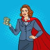PNF Art Super Businesswoman no cabo vermelho com dinheiro Sucesso de negócio ilustração royalty free