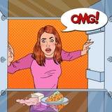 PNF Art Unhappy Hungry Woman Looking no refrigerador vazio com bolha cômica do discurso ilustração do vetor