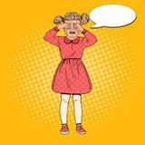 PNF Art Unhappy Little Girl Crying com rasgos Expressão facial da criança triste Criança choroso ilustração do vetor