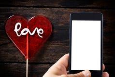 PNF do lolly da forma do coração Imagem de Stock