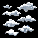 Σύννεφα κινούμενων σχεδίων, στοιχείο σχεδίου, διαφανές υπόβαθρο PNG Στοκ Εικόνες