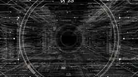 Png-alfabetisk HUD teknologisk intro Flyga till och med det digitala HUD målet i utrymme för scifi-cyber stock video