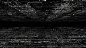 Png-alfabetisk Kameraflyttningar till och med cyberspace för digital dator stock video
