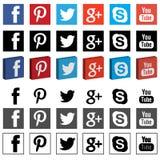 PNG 3D средств массовой информации сети социальное плоское Стоковая Фотография