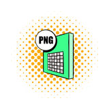 PNG file icon in comics style. On a white background Stock Image