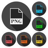 PNG file icons set with long shadow Royalty Free Stock Image
