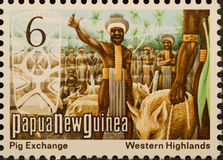 PNG postage stamp, pig exchange. Papua New Guinea unused postage stamp showing pig exchange, Western Highlands. Circa 1975. Isolated on black background royalty free stock photos