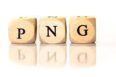 PNG spelled word, dice letters with reflection Stock Photo