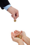 Pnha seu dinheiro nas mãos seguras Fotografia de Stock