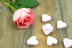 Pnk rose and heart candies Royalty Free Stock Photo