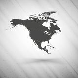 Północna America mapa na szarym tle, grunge Obraz Stock