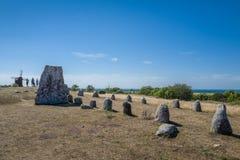 Północny brązowego wieka grób pole w Szwecja Obrazy Royalty Free