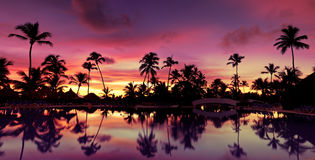 Pnorama Blue pink and red sunset over sea beach royalty free stock images