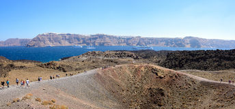 Pnorama view on Santorini island volcano crater Royalty Free Stock Photography