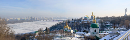 Pnoramic view of the Lavra and Dnipro Royalty Free Stock Images