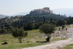 Pnyx in Athene, Griekenland Royalty-vrije Stock Afbeelding