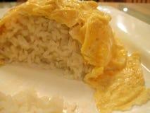 Połówka Jedzący talerz Omellete nad Rice fotografia stock