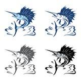 Połowu Ostry Sailfish Skacze Dużego Rybiego logo szablon royalty ilustracja