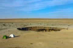 Poço 02 da cratera do gás de Darvaza foto de stock