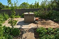 Poço de água e jardim pequeno em torno dele Imagem de Stock Royalty Free