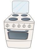 Poêle de cuisine à la maison de dessin animé Photo libre de droits