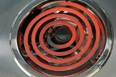 Poêle de cuisine d'un rouge ardent Photographie stock libre de droits