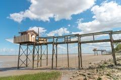 Połów buda na stilts dzwonił Carrelet, Gironde ujście, Francja obraz royalty free