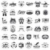Połów, camping i pikowanie klub z projektów elementami, ilustracji