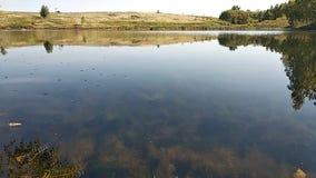 Połów, jezioro, zaciszność, dzień, liście, gładcy, na thioi jeziorze, brzozie, wideo, w tle, wzgórzach i polach, fala, flatter, w zbiory wideo