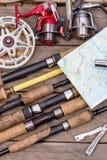 Połów rolki na drewnianych deskach i prącia Zdjęcie Royalty Free