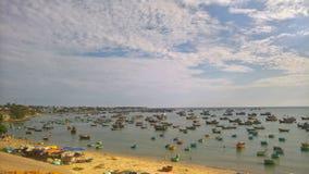 Połów sceneria w Wietnam, Mui Ne obrazy royalty free