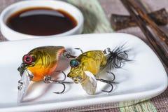 Połów wabije słuzyć na talerzu jako posiłek fotografia stock