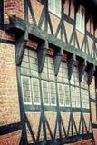 Połówka cembrujący tradycyjny dom w ribe Denmark Fotografia Stock