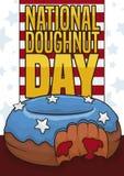 Połówka Gryźć Patriotyczny pączek dla Krajowego pączka dnia świętowania, Wektorowa ilustracja ilustracji