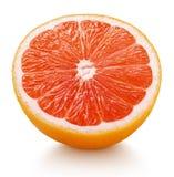 Połówka różowa grapefruitowa cytrus owoc odizolowywająca na bielu Zdjęcia Royalty Free
