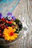 Połówka talerz z jagodami rodzynek z kwiatem na drewnianym i liśćmi czarny i czerwony Zdjęcia Royalty Free