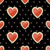 Połówki arbuz i ziarna na czarnym backgrou Zdjęcie Royalty Free