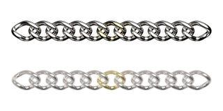 połączenia łańcuszkowy złoty srebro jeden Fotografia Royalty Free