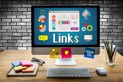 Połączenie Globalnej komunikaci Hyperlink seo rewizi Podłączeniowy engin zdjęcie stock