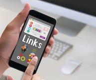 Połączenie Globalnej komunikaci Hyperlink seo rewizi Podłączeniowy engin fotografia stock