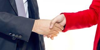 Połączenie i nabycie Kierownika biznesmena uścisk dłoni z kobietą zdjęcia stock