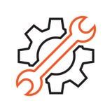 Położeń narzędzi ikona Czerni i pomarańcze przedmioty r?wnie? zwr?ci? corel ilustracji wektora royalty ilustracja