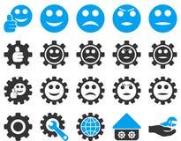 Położenia i uśmiech przekładni ikony Fotografia Royalty Free