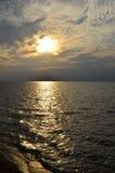 Położenia słońce nad Jeziornym Erie Obraz Stock