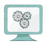 Położenie ikona na komputerowym monitorze - Wektorowa ilustracja Ilustracji
