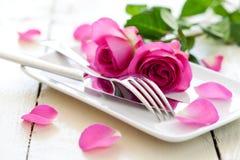położenie romantyczny stół Zdjęcie Stock