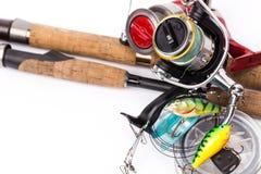 Połowów sprzętów prącia, rolki, linia, wabiją Obrazy Stock