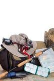 Połowów sprzęty z torebką i kapeluszem Zdjęcie Stock