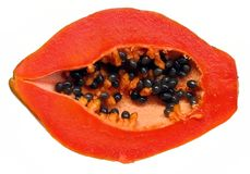 połowa świeży papaja Zdjęcia Royalty Free