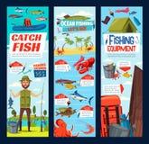 Połowu i fisher chwyta wyposażenia sprzętów sztandary ilustracji